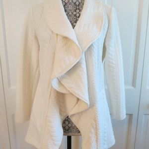 Stylish Sara Campbell Ivory Cabled/Textured Jacket